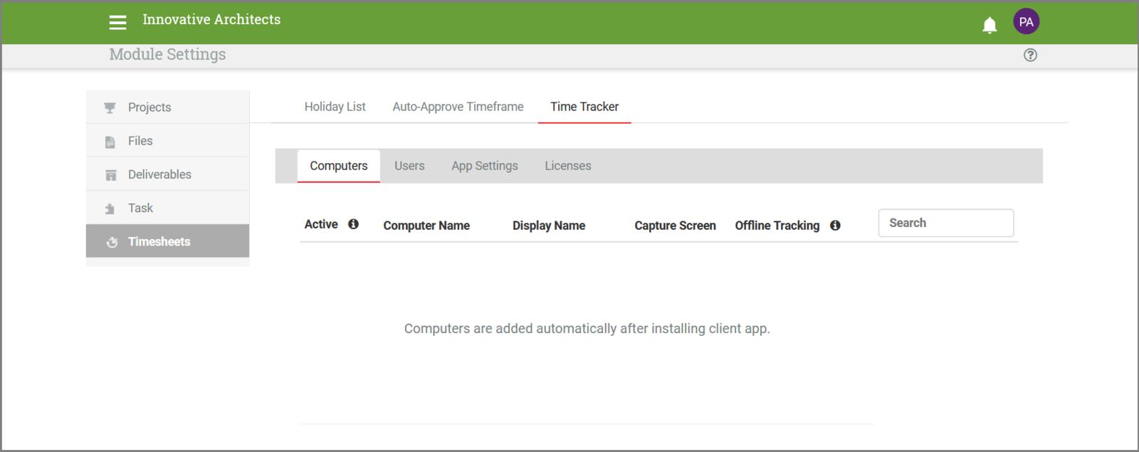 Auto Time Tracker Settings.