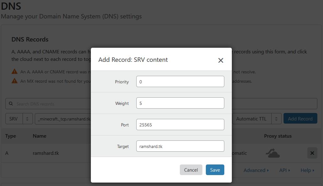 SRV Content Configuration