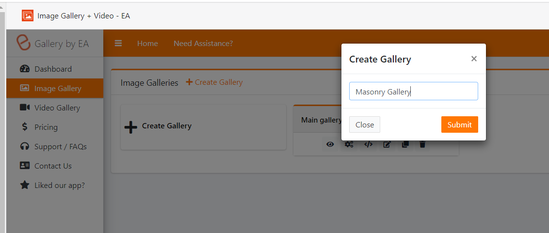 Create Sub gallery and upload images into the gallery