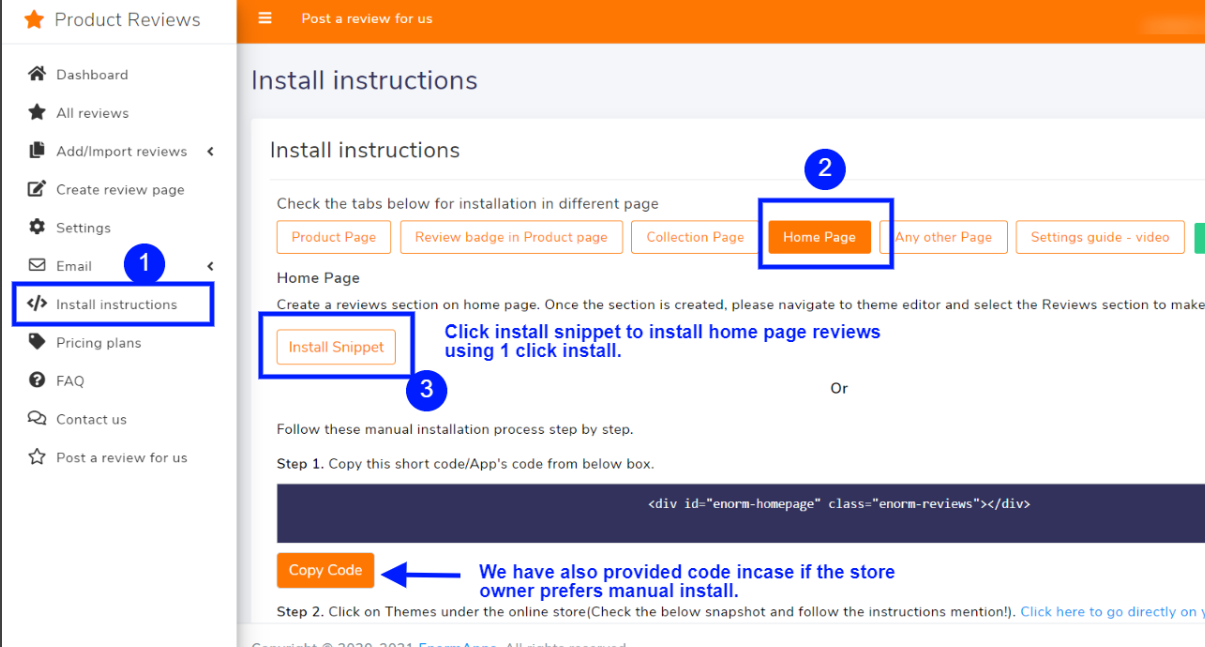 Click 1 click install inside the app