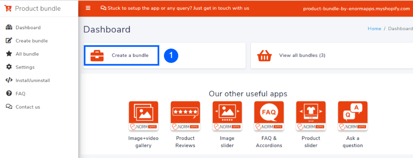 Click on create a bundle on dashboard