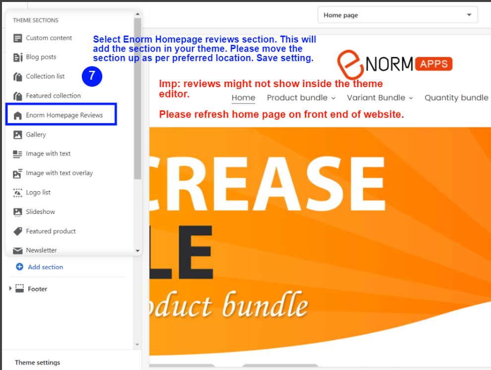 Select Enorm Homepage reviews section