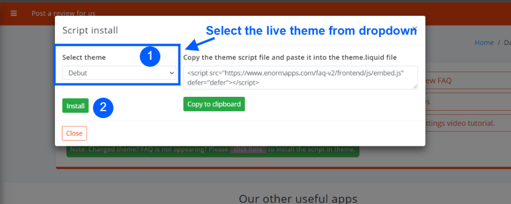 Select the live theme and click install
