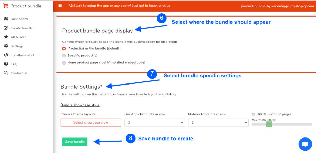 Display and bundle settings