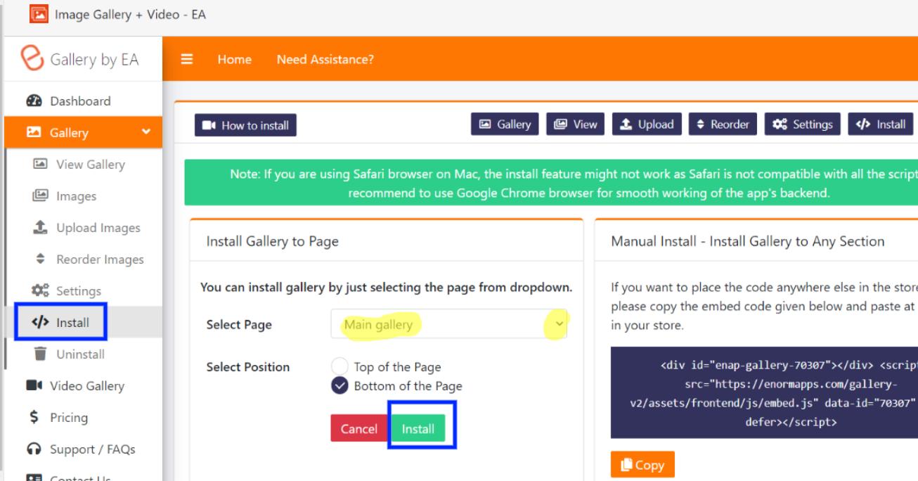 Install gallery using 1 click install
