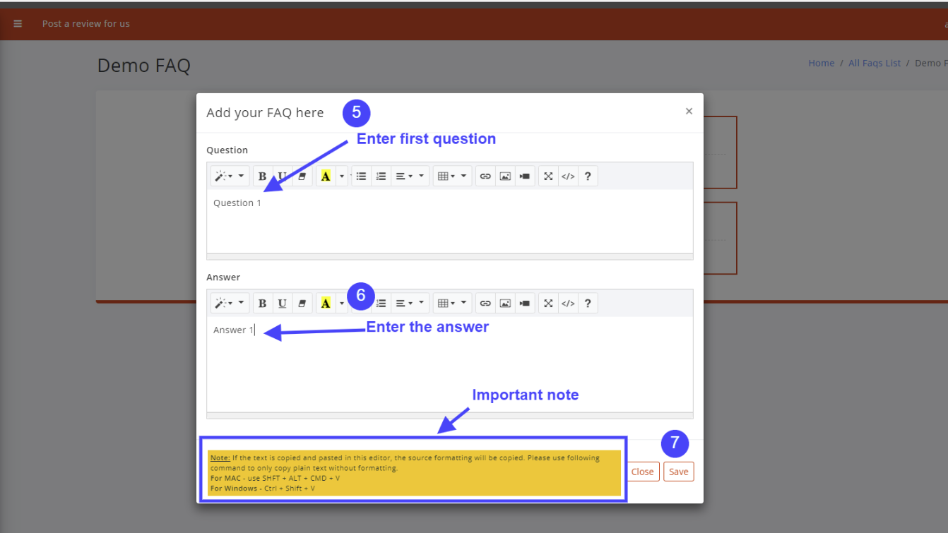 Create first question and answer