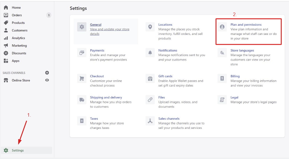 Click on settings and open Plans and permissions