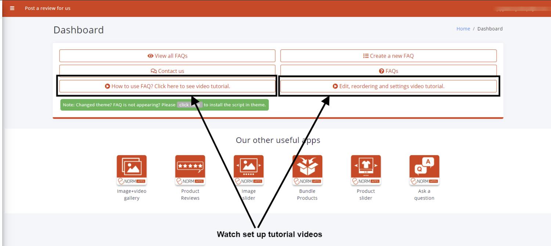 Set up tutorial videos on Dashboard