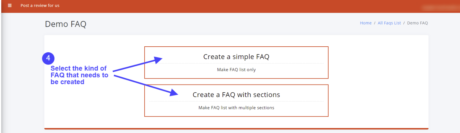Select the type of FAQ