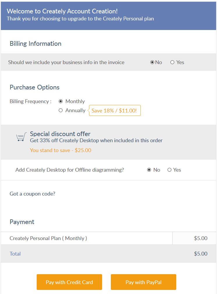 Sign in and add billing information to proceed ahead