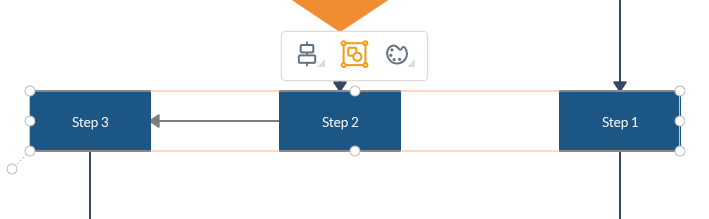 group shapes, text or connectors with Group button