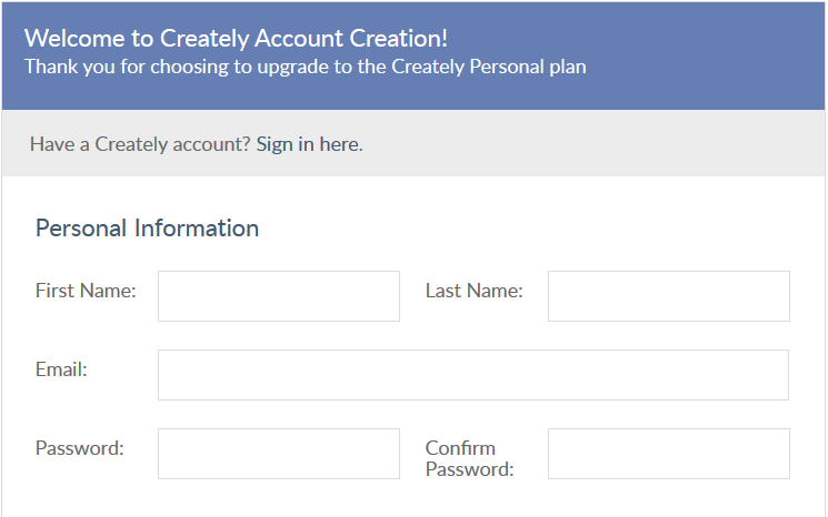 New user sign up form