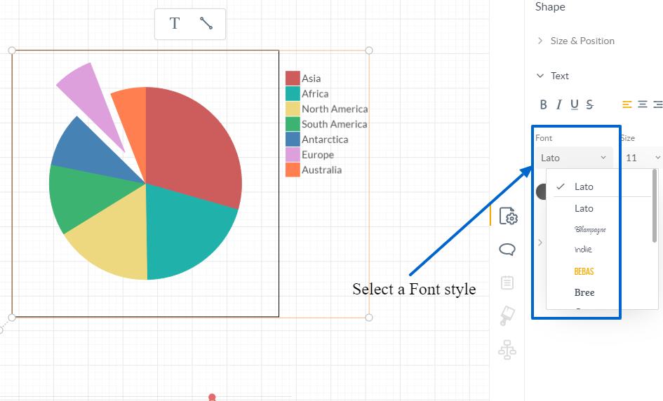 Seleccionar un estilo de fuente - Panel de información de formas