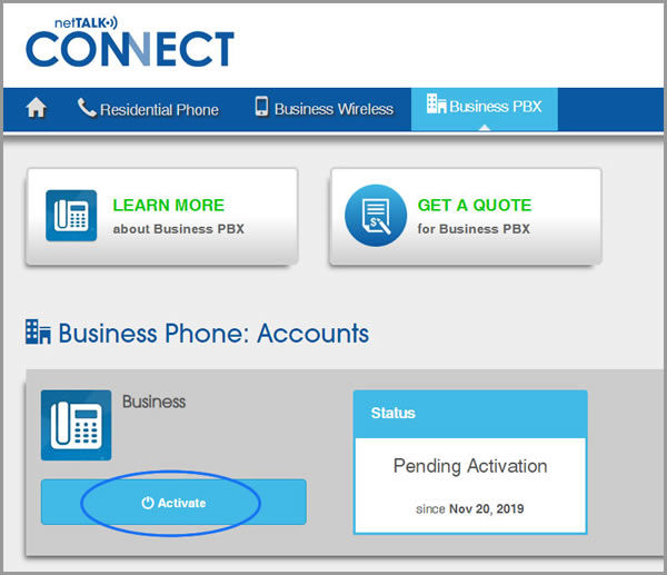 "(""Activate"" button on Business PBX page)"