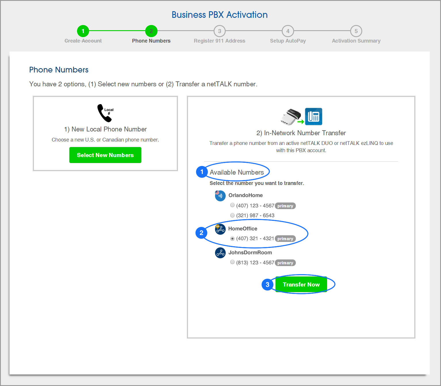 (screenshot of PBX Activation: Step 2: Transfer a phone number)