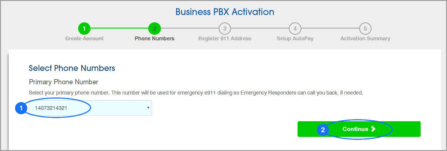 (screenshot of PBX Activation: Step 2: Select Primary Phone Number