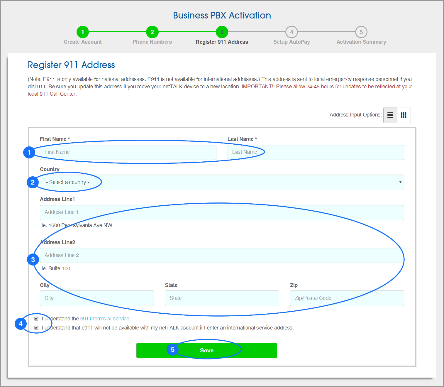 (screenshot of PBX Activation: Step 3: 911 Address)