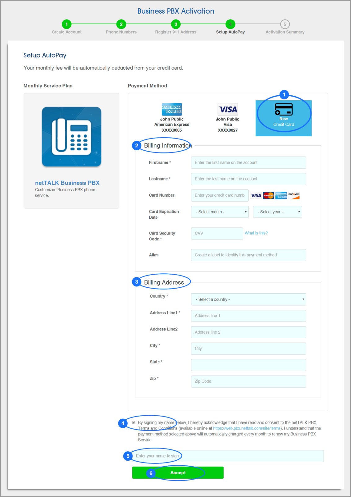 (screenshot of PBX Activation: Step 4: Setup AutoPay - Add a Payment Method)