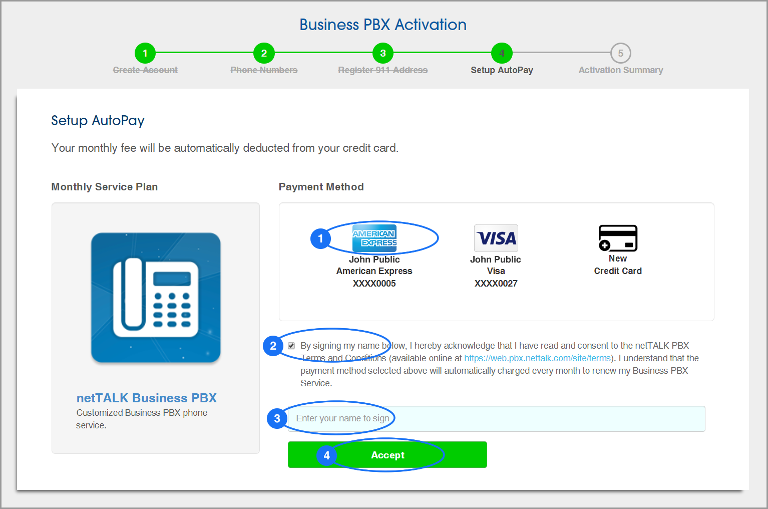 (screenshot of PBX Activation: Step 4: Setup AutoPay - Select a Payment Method)