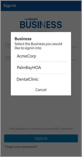 (PBX App accounts screen)