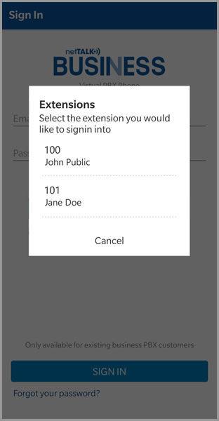 (PBX App extensions screen)