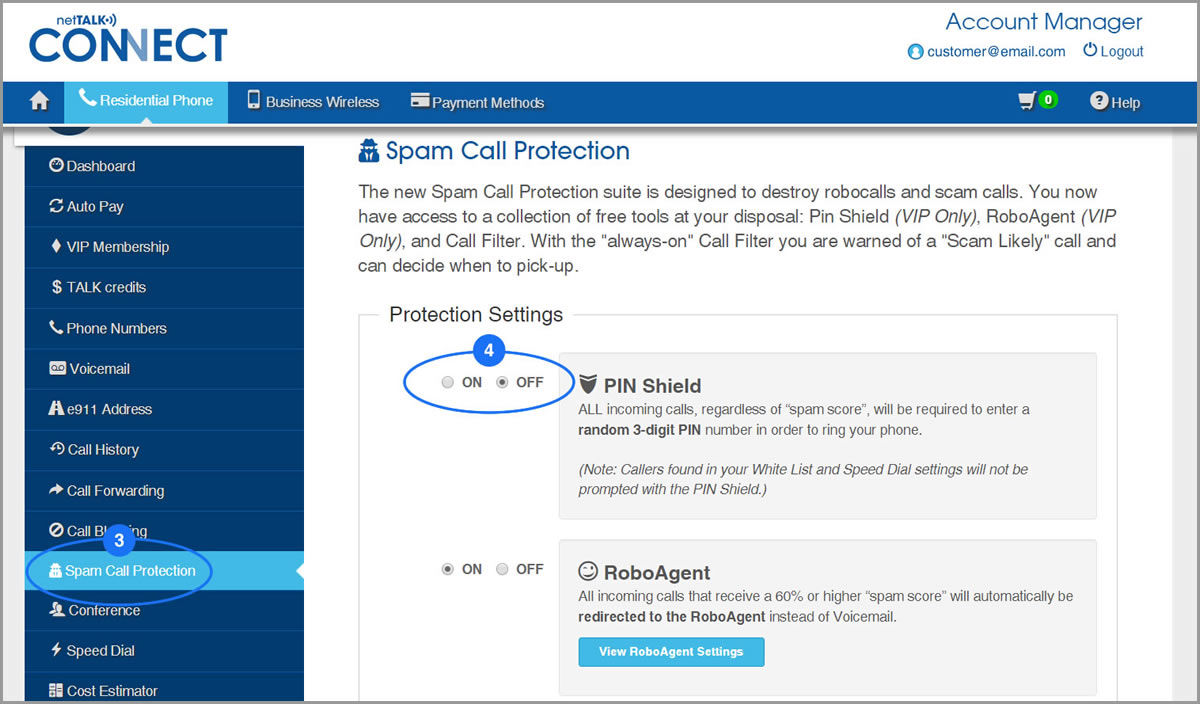 screenshot of Spam Call Protection Page displaying the PIN Shield tool