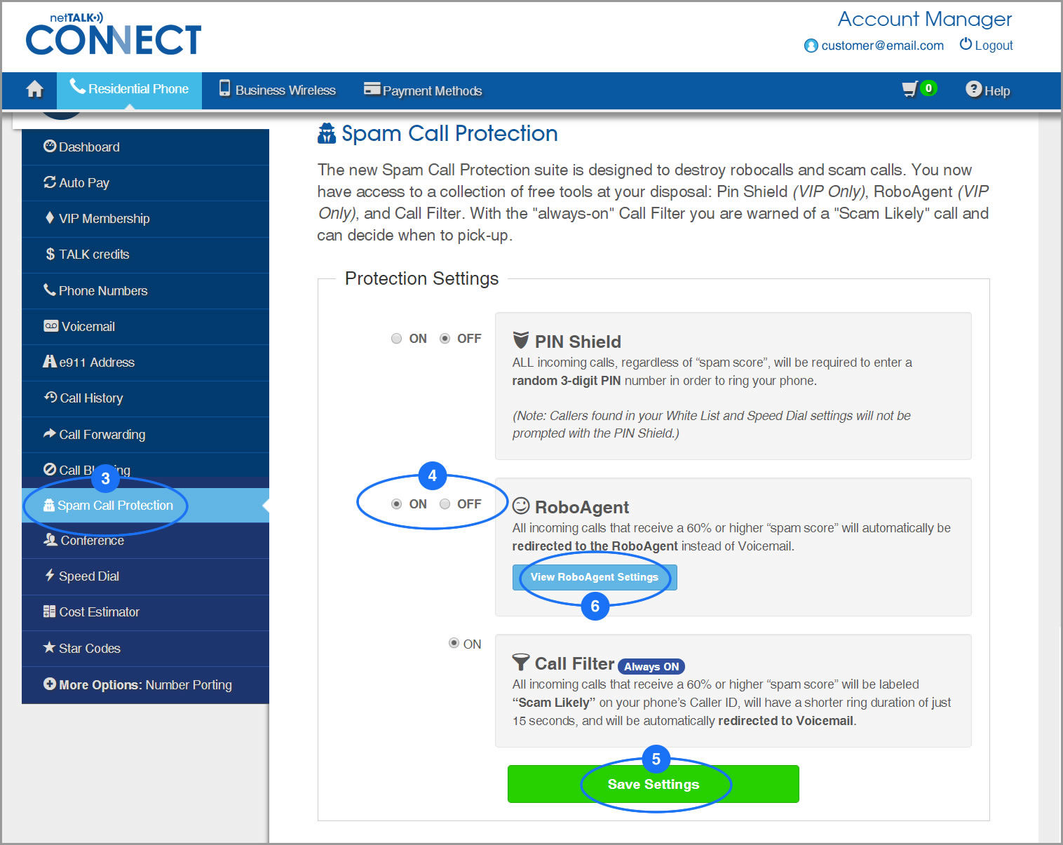 (screenshot of Spam Call Protection page showing RoboAgent)