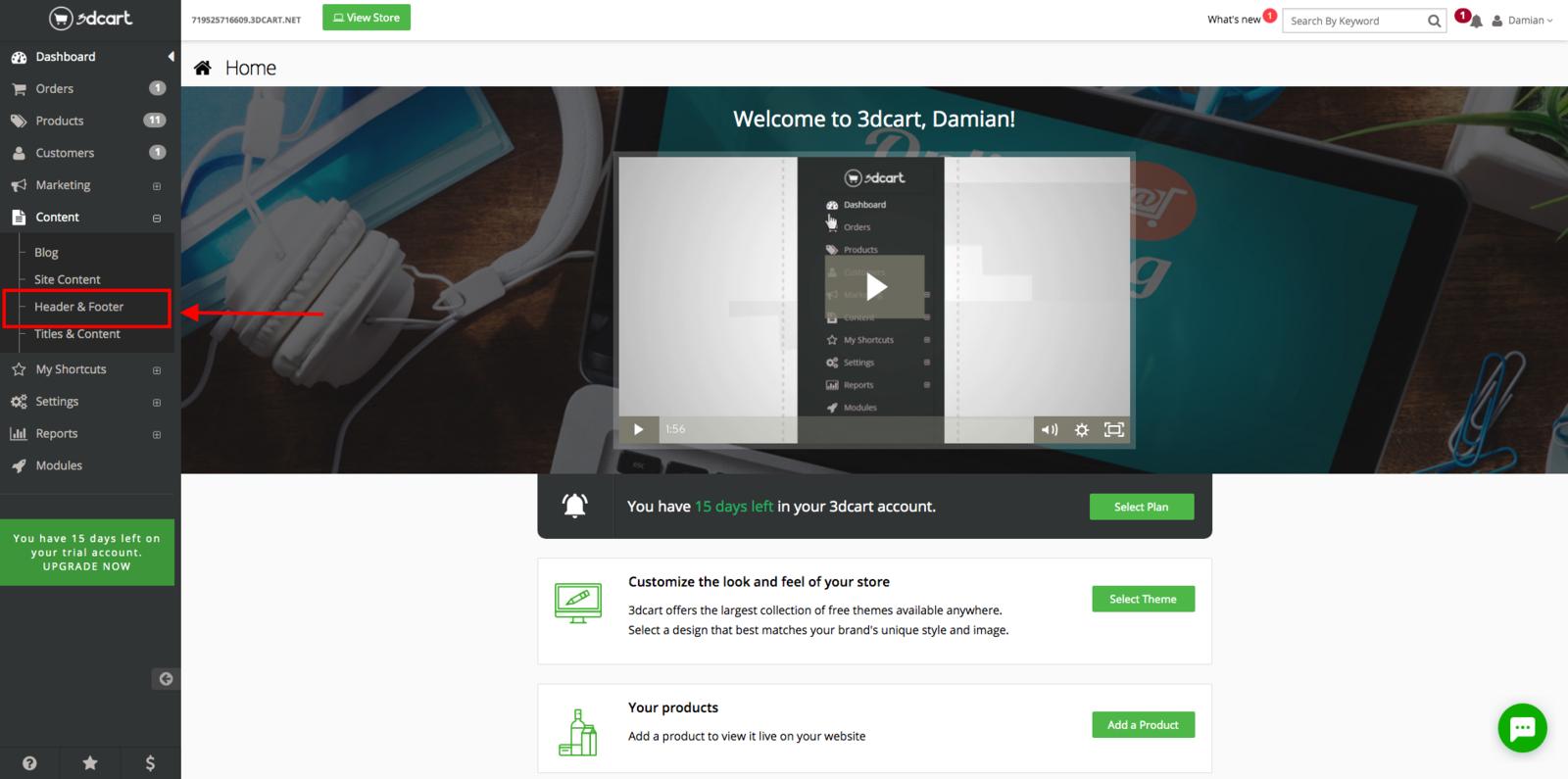 3dcart -> Content -> Header & Footer