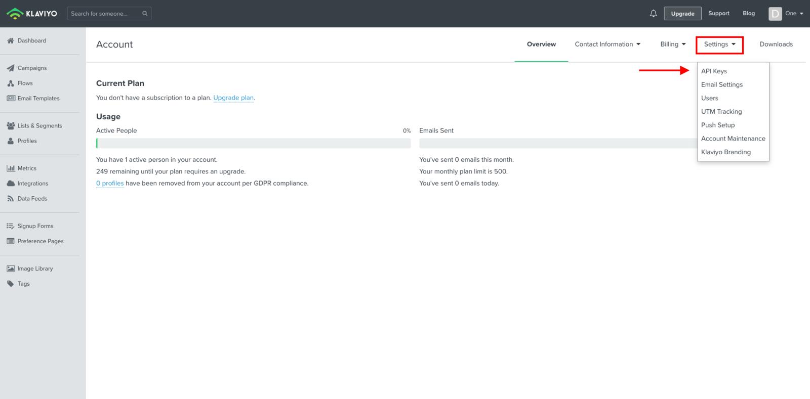 Klaviyo -> Settings -> API Key