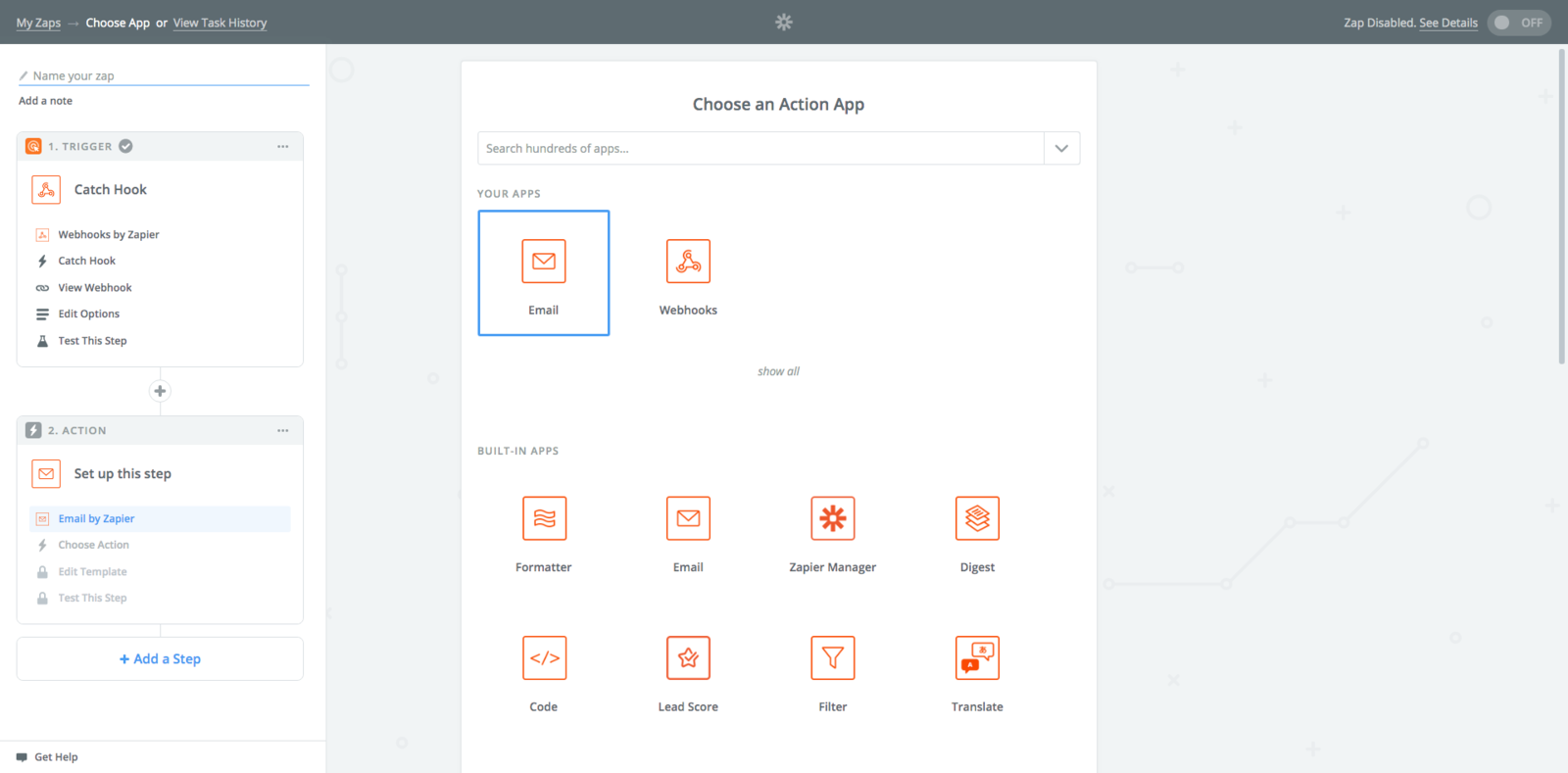 Choose an Action App -> Email by Zapier