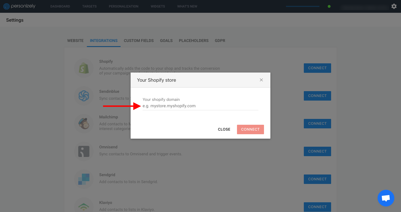 Enter your Shopify domain