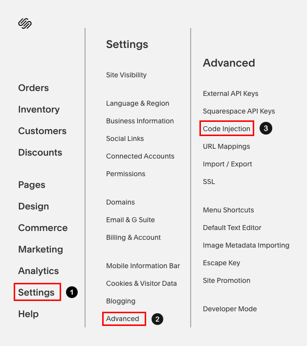 Squarespace -> Settings -> Advanced -> Code Injection