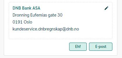 I dette eksempelet er det mulig å sende fakturaen på EHF eller e-post