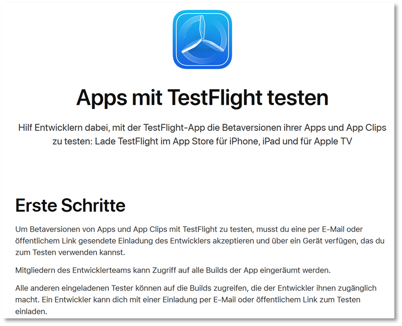 Erste Schritte in TestFlight