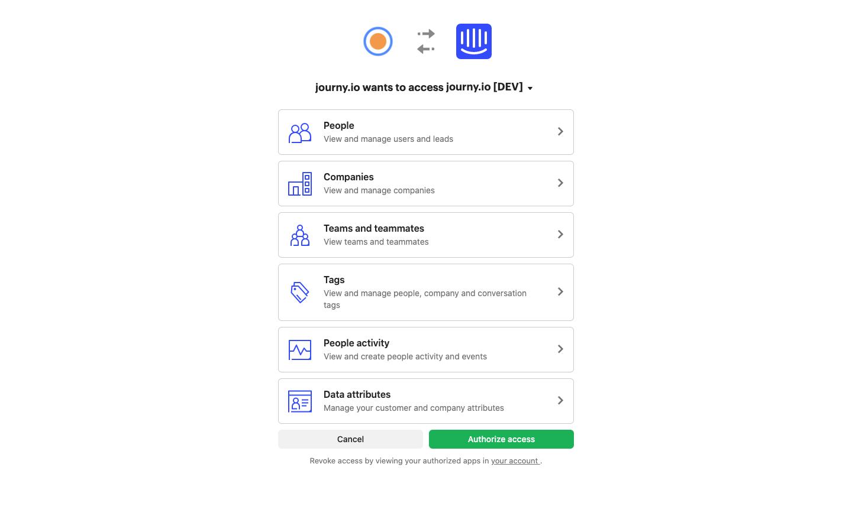 Authorise journy.io to access Intercom data
