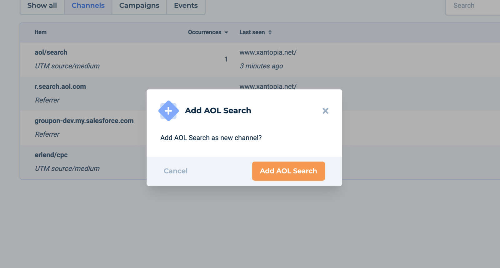 Pressing on AOL logo will ask you to confirm adding the AOL Search channel.