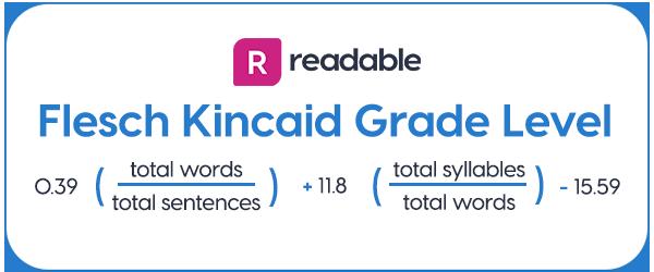 Flesch Kincaid Grade Level formula
