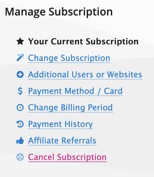 Manage Subscription ➡ Cancel Subscription