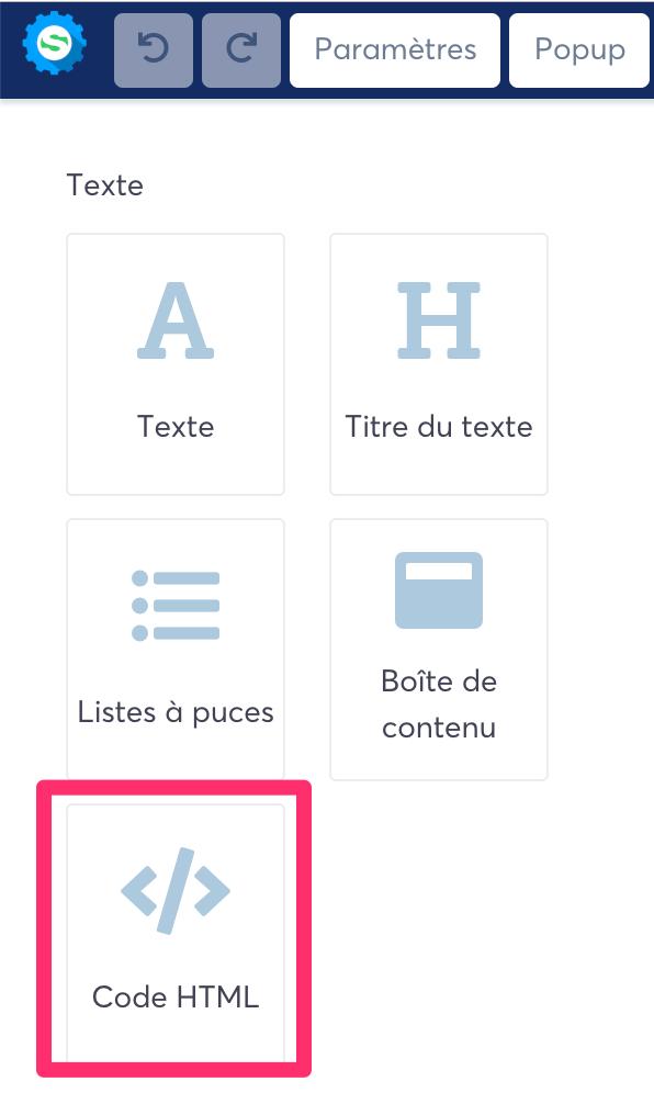 """Element """"Code HTML"""" dans l'éditeur de pages de Systeme.io"""