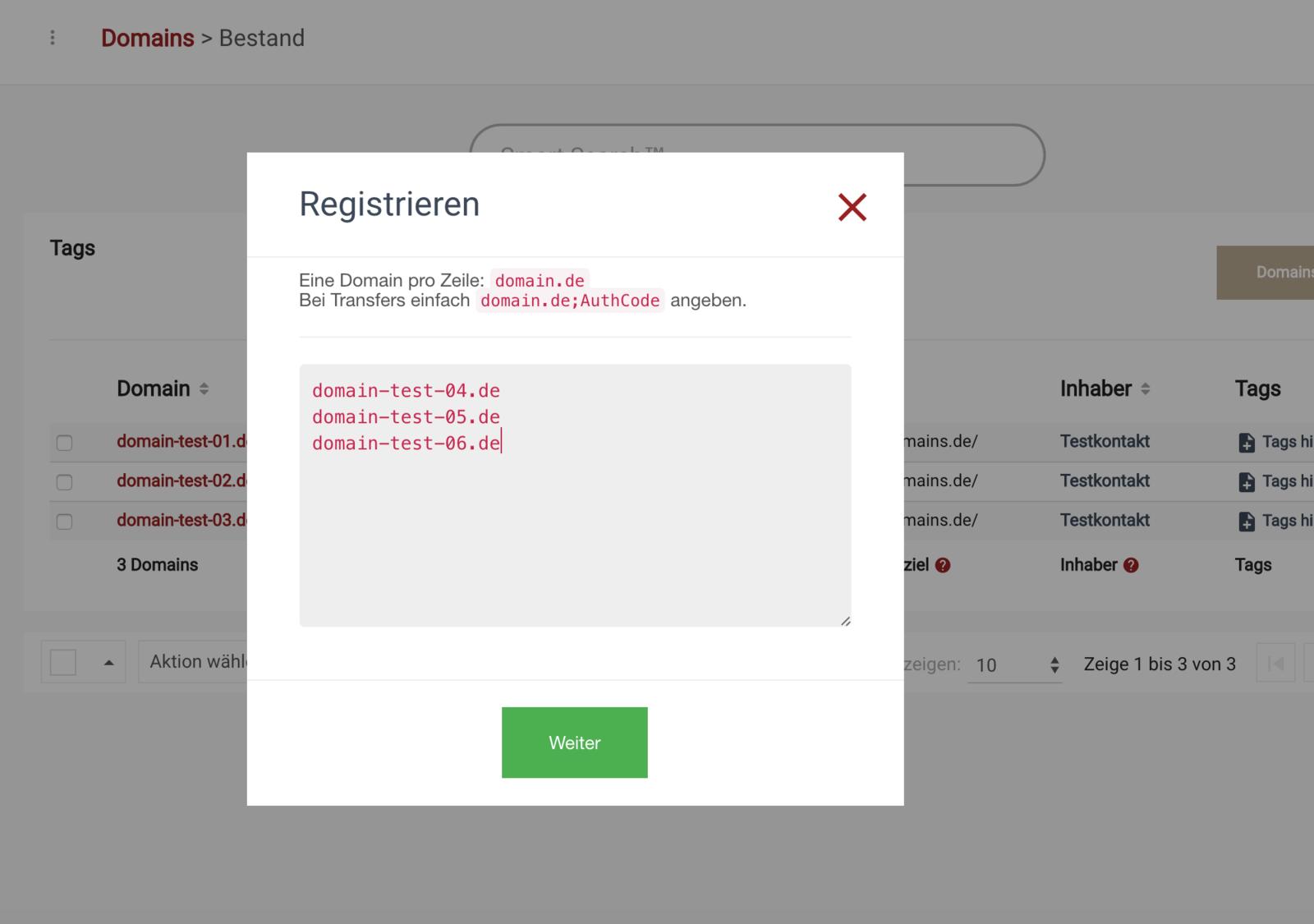 .de Domains bestellen - Schritt 2 - Verfügbarkeit Prüfung