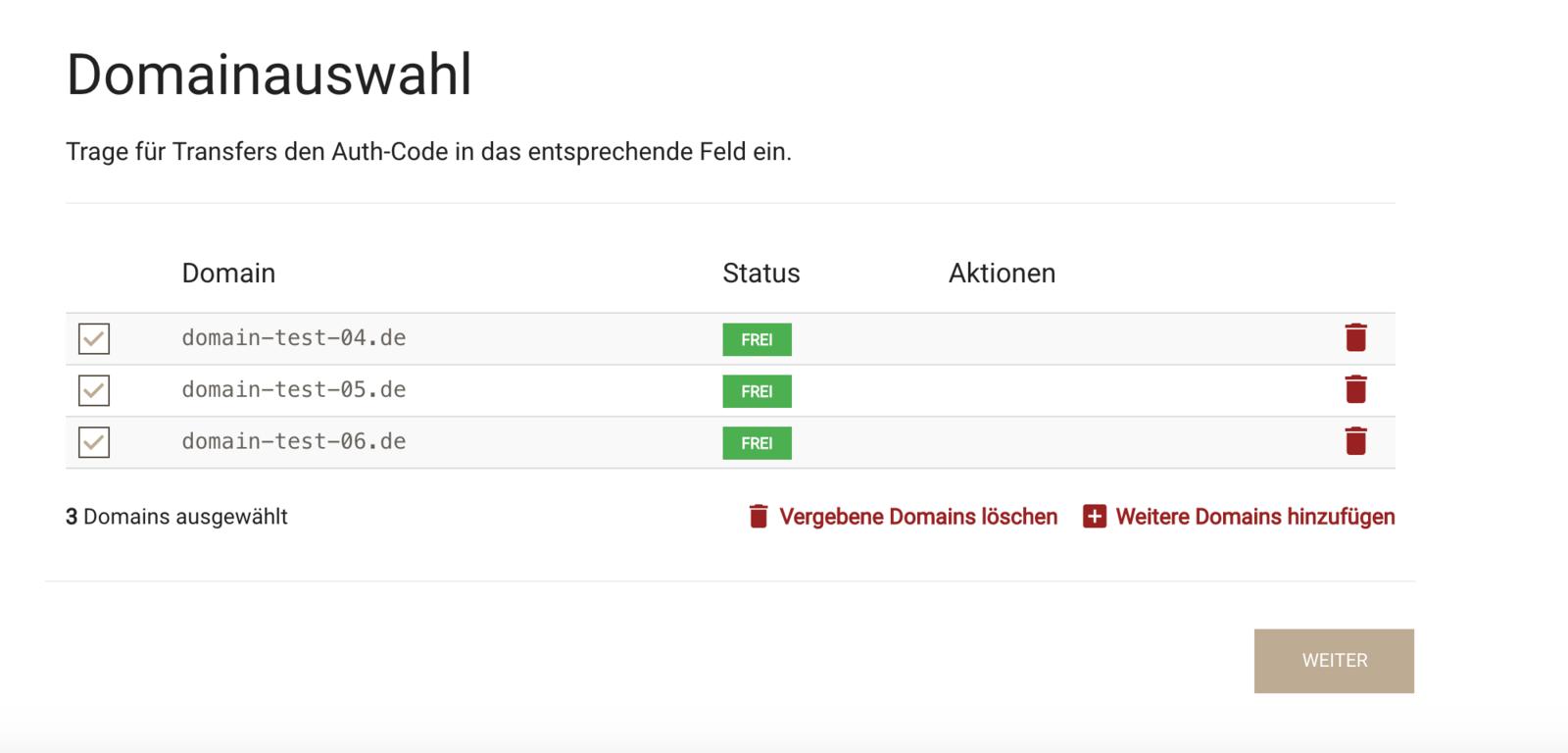 .de Domains bestellen - Schritt 3 - Domains auswählen