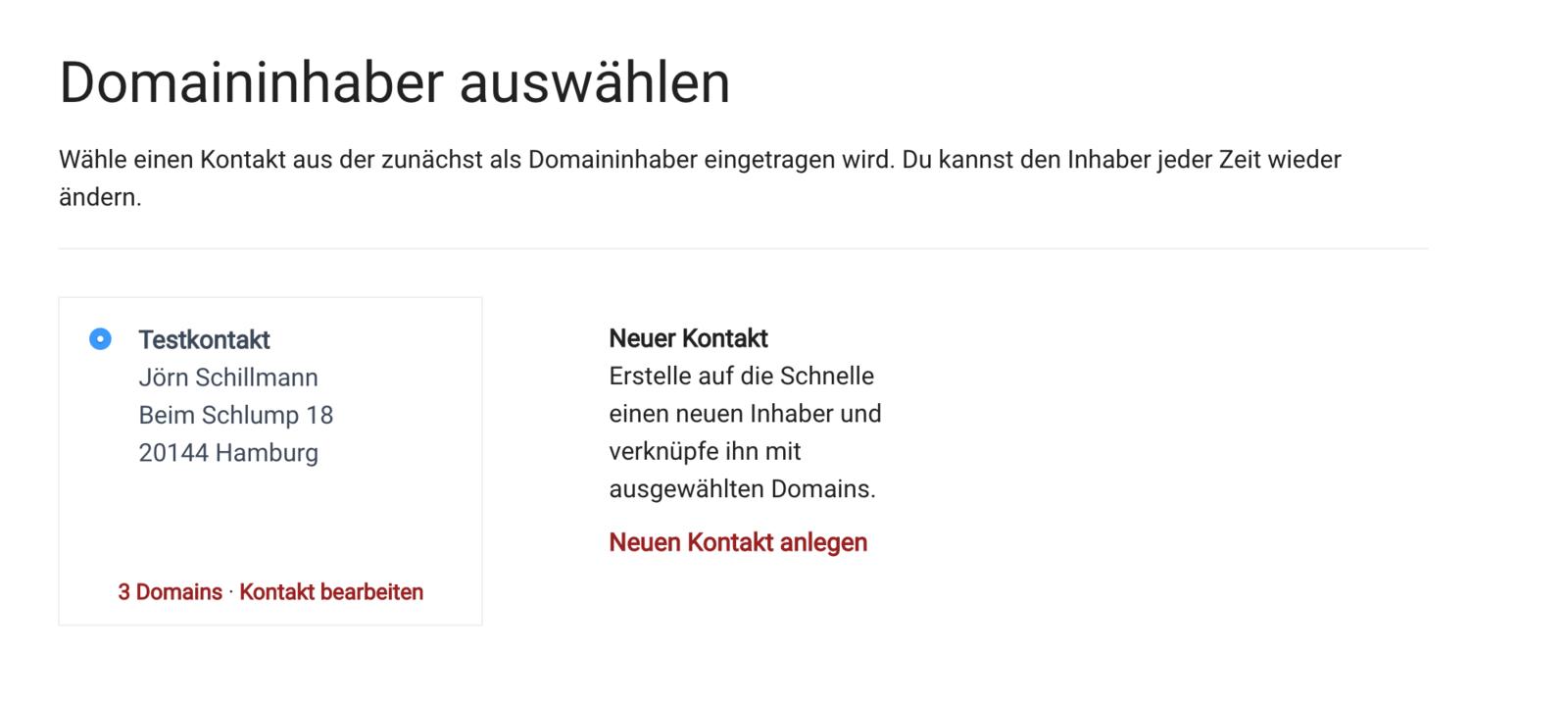 .de Domains bestellen - Schritt 4 - Domaininhaber auswählen