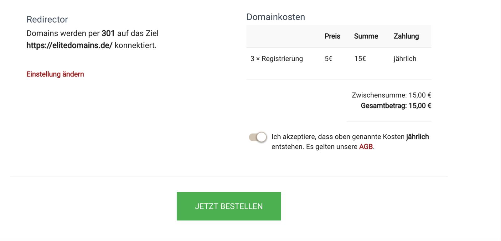 .de Domains bestellen - Schritt 6 - Bestellung bestätigen