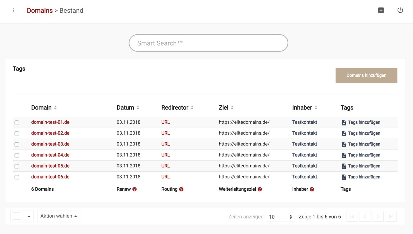 .de Domains bestellen - Schritt 7 - Domains verwalten