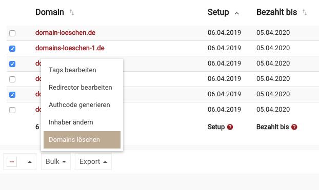 .de Domain löschen - Fall 2 - Bulk Delete