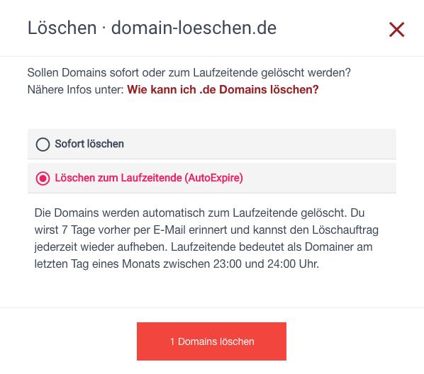 .de Domain löschen - Fall 4 - AutoExpire