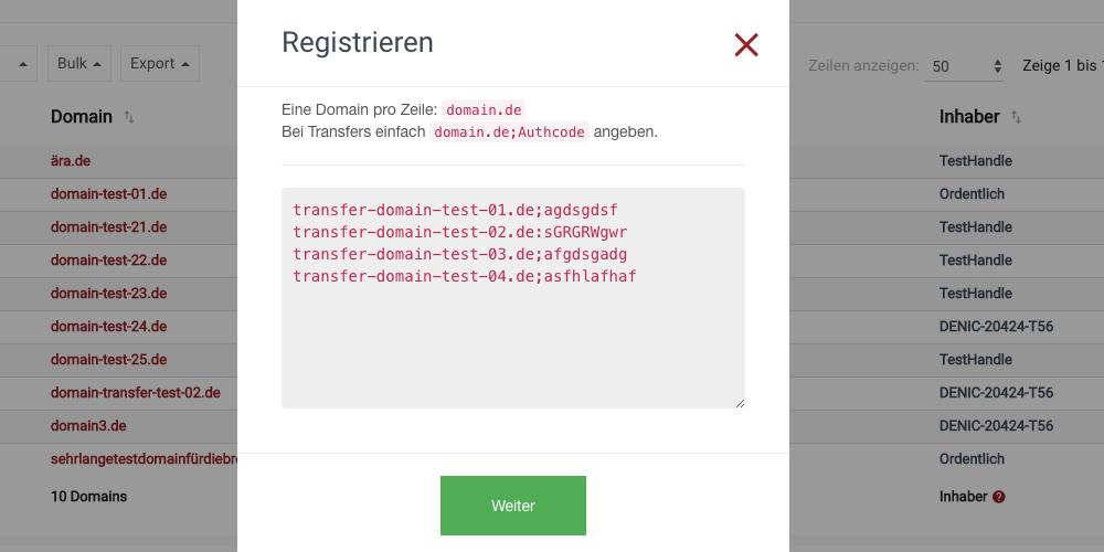 .de Domains transferieren - Fall 2 - Bulk Domain Transfer