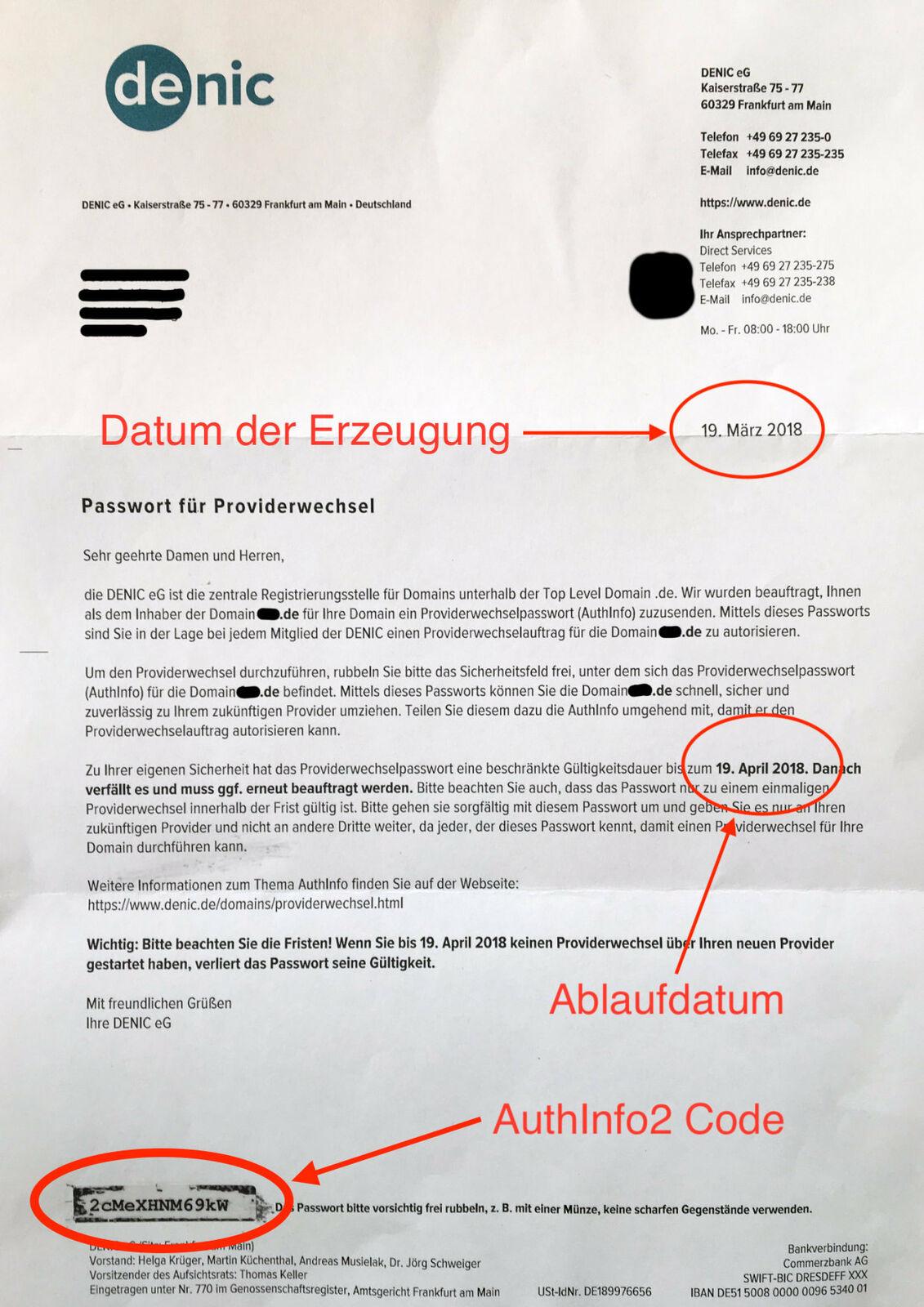 Authinfo2 Brief der DENIC