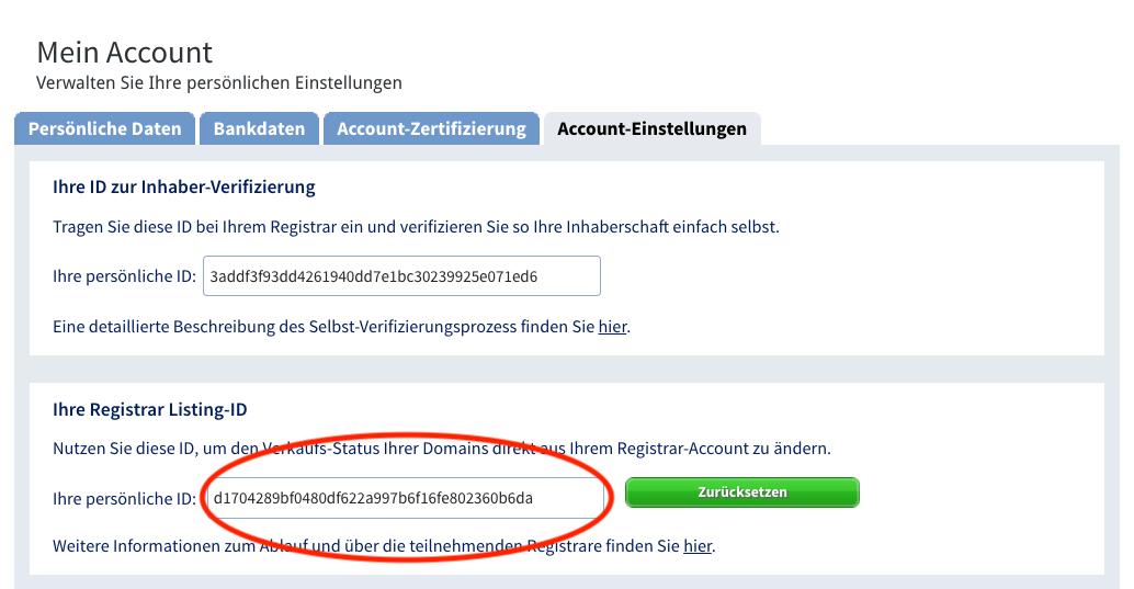 Schritt 1 - Registrar Listing-ID bei SEDO ermitteln