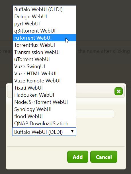 "Select Rutorrent in drop-down menu and press ""Add""."